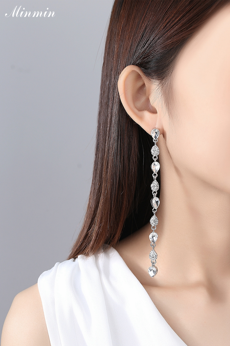 ec08083af7882 Minmin Trendy Tear Drop Gold / Silver Color Crystal Long Chain Earrings for  Woman 2018 New Fashion Wedding Party Jewelry EH1089