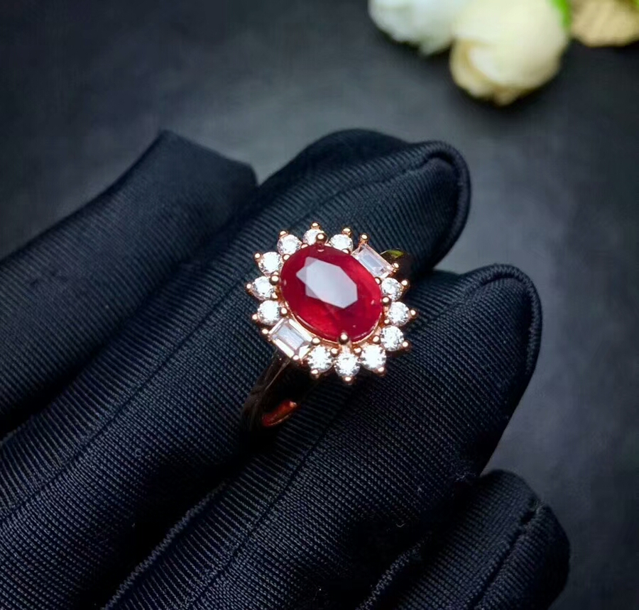 [MeiBaPJ Natural New Burning Pigeon Blood Ruby Gemstone Fashion Ring For Women Real 925 Sterling Silver Fine Jewelry