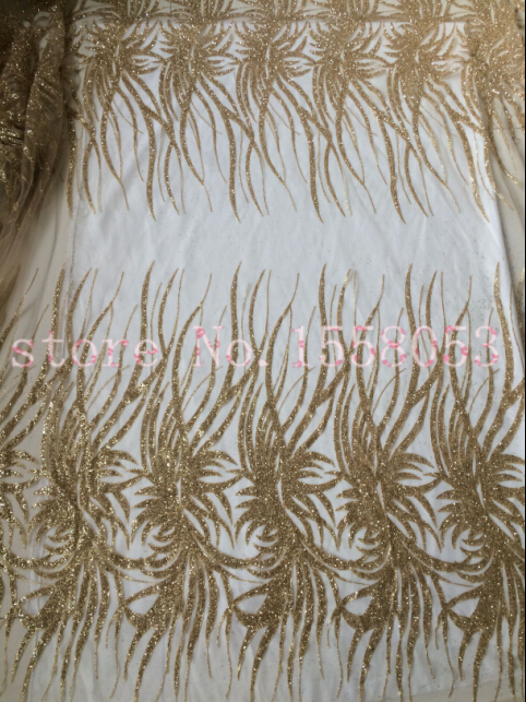 African embroidered mesh lace fabric LJY 70912 French net lace fabric 5yds pc in gold color