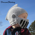 Fashion Novelty  Cool Cute Winter Handmade Knitted Hats Helmet Children Roman Armor Caps For Baby Boy Girl Crocheted Beanies