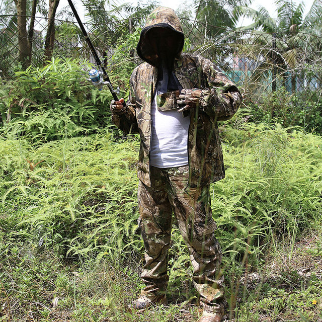 Bionic Camouflage Clothes Tactical Sniper Ghillie Suits Cotton Camo Hunting Clothing Anti-Mosquito Spring Autumn Fishing 2