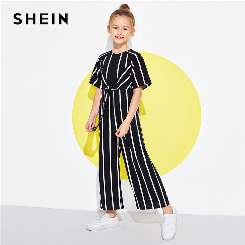 SHEIN Black Vertical Striped Wide Leg Casual Jumpsuit Children 2019 Spring Fashion Half Sleeve Girls Jumpsuit Kids Jumpsuits solid self belted wide leg pants