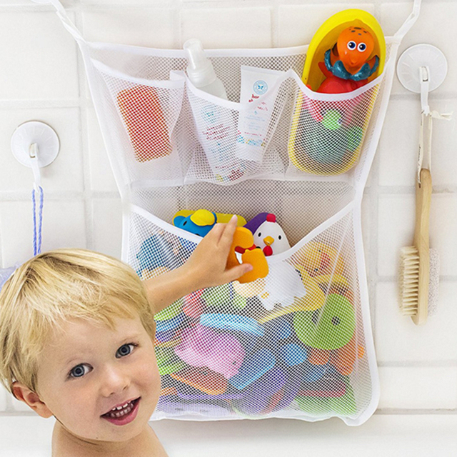 Exceptionnel Large Bathroom Baby Kids Bath Bathtub Toy Mesh Storage Bag Suction Cup Tidy  Toys Organizer Baskets