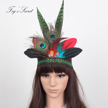 Peacock Feather Headwear For Women dramatic Hair accessories Colorful halloween hairbands for Short hair