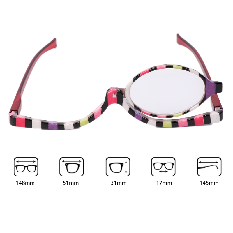 Luckyfine Women Makeup Glasses Magnifying Glasses Cosmetic Beauty Reading Glass Folding Eyeglasses Makeup Tools Gift