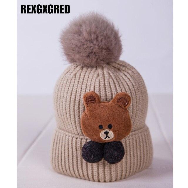 95ca946614c New Arrival Beanie Knitting Hat Cap For Kids Skullies Cartoon Bear Patch  Gorros Bonnet Hat