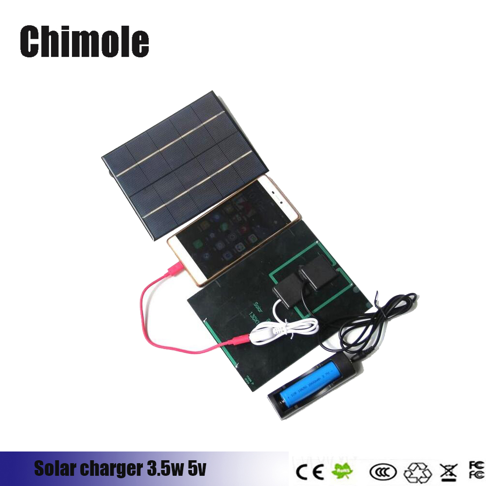 Chimole 6V 3.5W USB Solar Cell Charger Panel Outdoor Travel Portable Power Bank for Mobile Phone 18650 battery