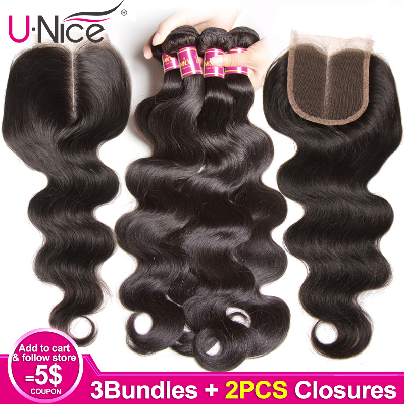 Unice Hair 3 Bundles Body Wave With 2 PCS Closures 8 30 Inch Brazilian Hair Weave Bundles Remy Human Hair Bundles With Closure-in Salon Bundle Pack from Hair Extensions & Wigs    1