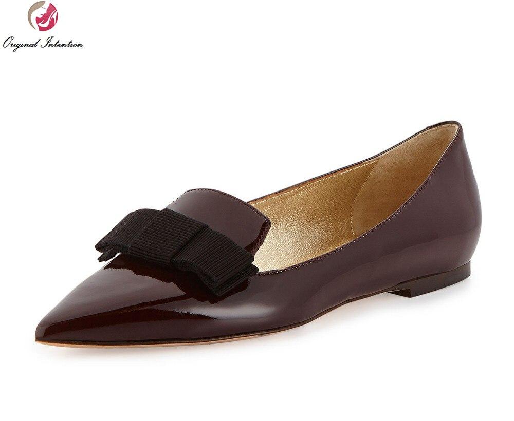 d4cc4a55b Intenção Original de Alta Qualidade Mulheres Sapatos de Barco Flats Couro de  Patente Do Dedo Do Pé Apontado Sapatos de Vinho Tinto Mulher EUA Tamanho  4-15