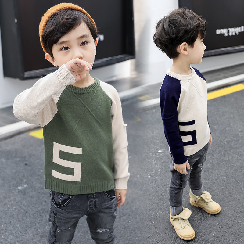 Knitted Toddler Boy Sweater Casual Spring Autumn Cartoon Dinosaur Pattern Warm Cotton Boys Sweaters Pullovers Children