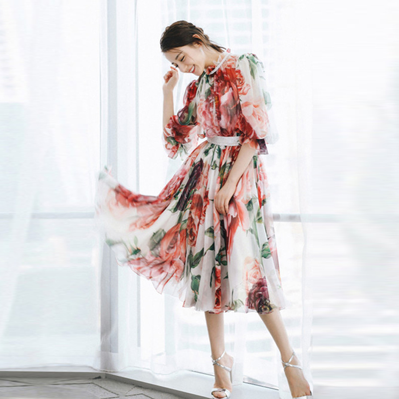 HIGH QUALITY Newest Fashion 2019 Women s Elegant Half Sleeve Rose Flowers Prineted Dress