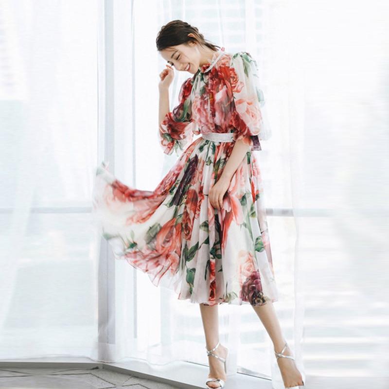 HIGH QUALITY Newest Fashion 2019 Women s Elegant Half Sleeve Rose Flowers Prineted Dress