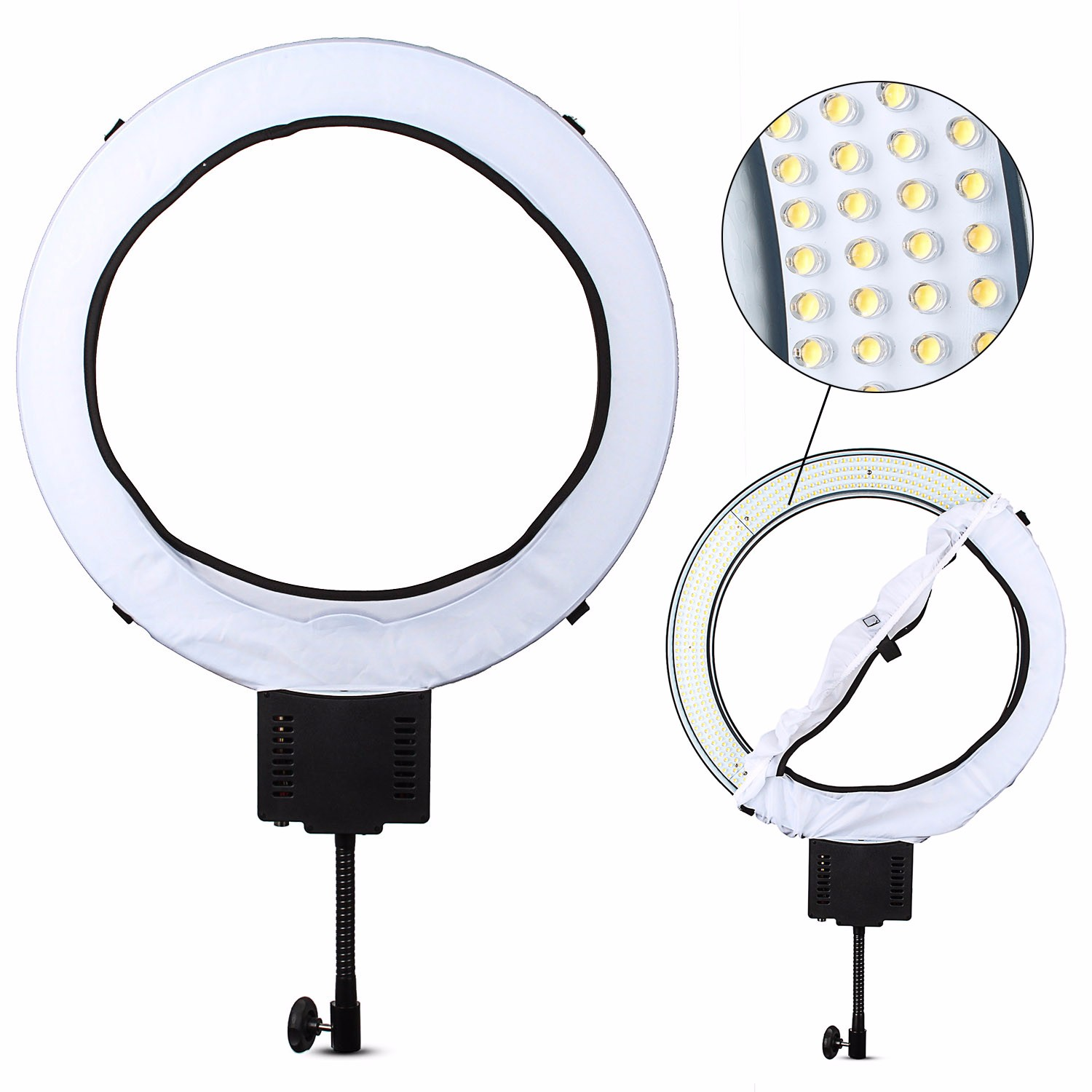 NanGuang CN-R640 5600K LED Video Studio Light 640 LED Macro Photography Ring Light Day Lighting Annular Lamp For DSLR Camera