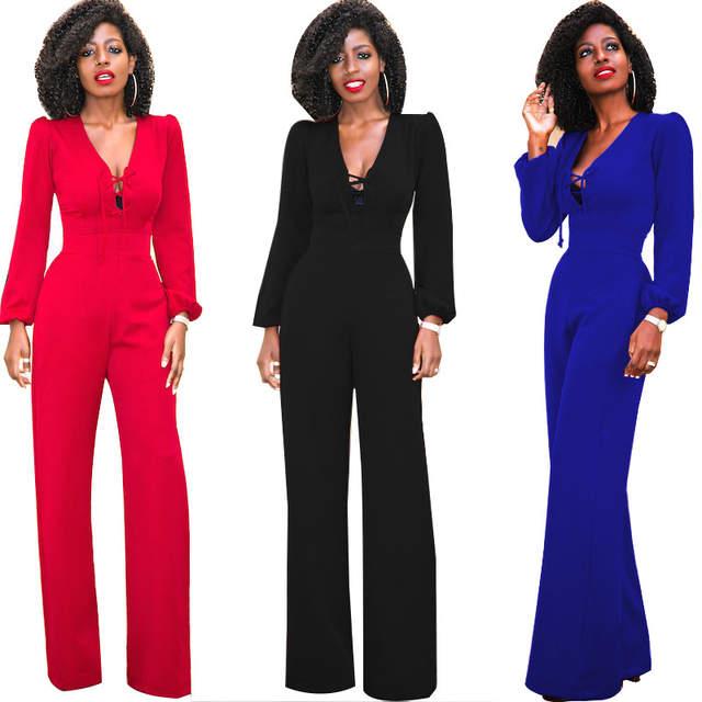 Online Shop Lace Up Wide Leg Jumpsuit Women Long Sleeve Loose Red