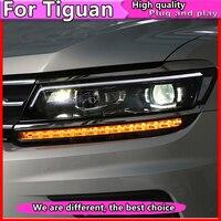 Car Styling For VW Tiguan headlights 2017 For Tiguan head lamp led DRL Bi Xenon Lens HID KIT headlight Dynamic turn signal