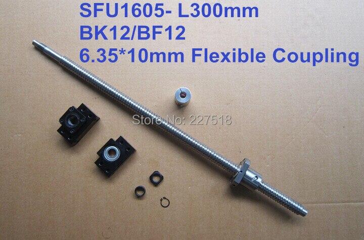 Ballscrew 1605 -L 300mm  with METAL DEFLECTOR Ballnut + BK12 BF12 support + coupler