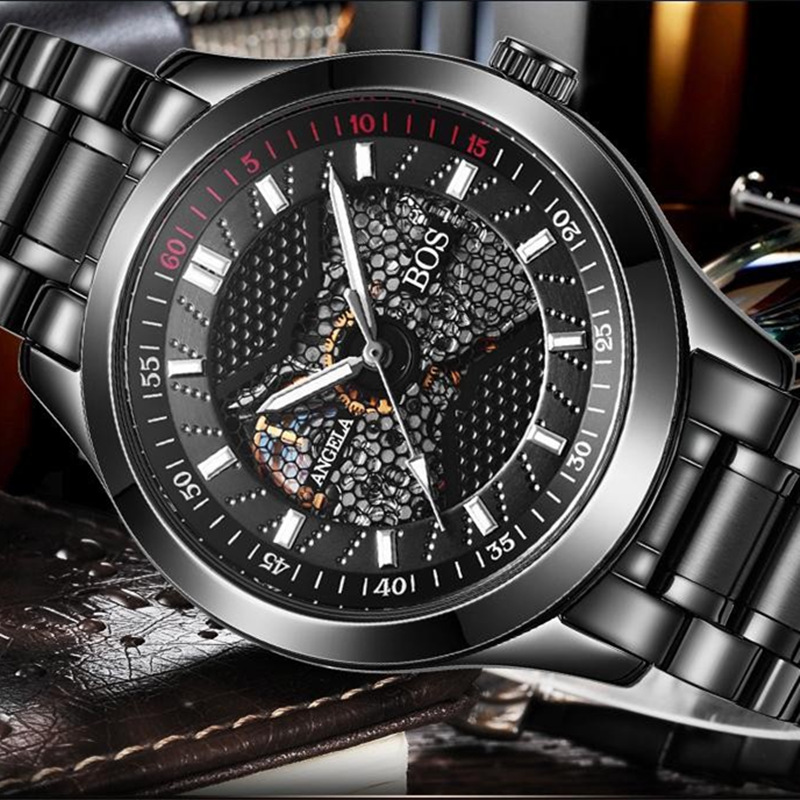 Relogios homens Luxury Brand Black Mechanical Skeleton Self Wind Automatic Men Watch Sport Waterproof Stainless Steel Watches shenhua brand black dial skeleton mechanical watch stainless steel strap male fashion clock automatic self wind wrist watches