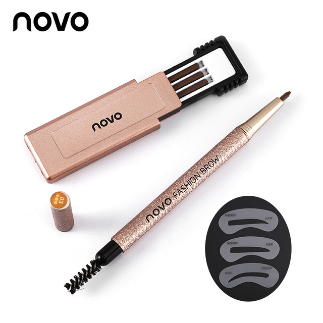 1 Set=3pcs NOVO 4 Colors New Eyebrow Pencil Makeup Set With 3pcs pencil+3pcs Eye Brows Template Waterproof Long Lasting Make Up 4