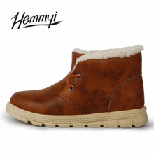Hemmyi 21017 New winter boots for men lace-up keep warm fashion Leather casual shoes male ankle boots