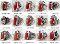 MW 16 Wholesale Nepal India Handmade 925 Sterling Silver Inlay Natural Red Coral Ring Mix Order