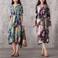 2017 Large Size Maternity Dresses Hit Color Printing Long Sleeve Spring Loose Chiffon Dress for Pregnant Women CE415