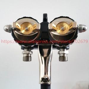 Image 3 - 送料無料ナノクローム絵画デュアルヘッド空気圧噴霧器ホット売上高でダブルノズルスプレーガン