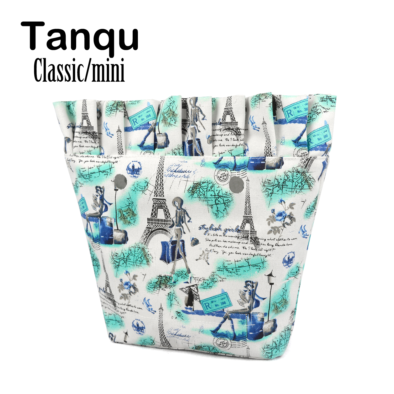 TANQU New Frill Pleat Ruffle Classic Mini Colorful Zip-up Inner Lining Insert for Big Mini Obag Canvas Inner Pocket for O Bag tanqu tela insert lining for o chic ochic colorful canvas inner pocket waterproof inner pocket for obag