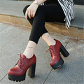 2016 individuales tacones de zapatos con gruesas Xieqiu Británicos SLIP de ENCAJE único pequeño de cuero y zapatos de moda elegantes zapatos de onda cuadrada