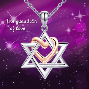 Image 3 - 925 Sterling Silver Rose Gold Heart Hexagonal Star Pendant Necklace 2020 Female Fine Jewelry Gift Support Wholesale