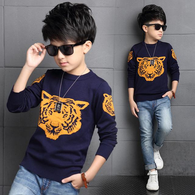2016 Nova Primavera Outono Meninos Crianças Camisola Tigre Pullover Blusas De Malha Meninos Meninos Cardigan Camisola Roupas de Inverno Crianças