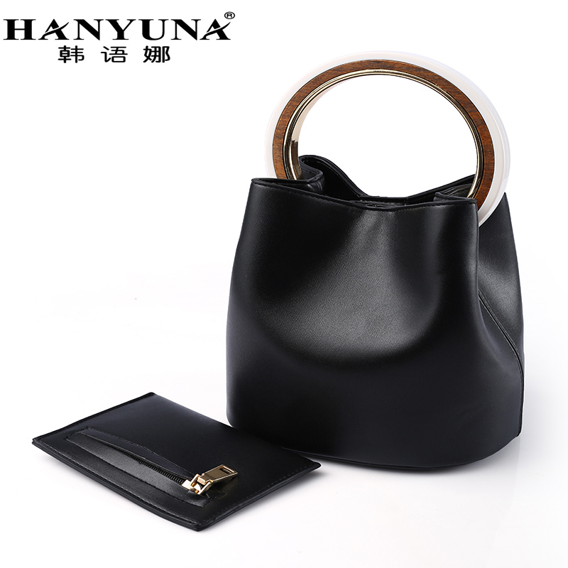 HANYUNA PU Leather Big Capacity Bucket Bag with Gold Metal Round Top Handle for Fashion  ...