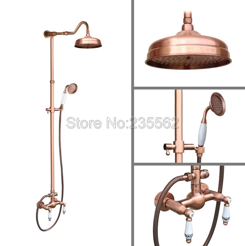 Rainfall Antique Red Copper Bathroom Bathroom Rain Shower Faucet Set Cold and Hot Water Shower Mixer