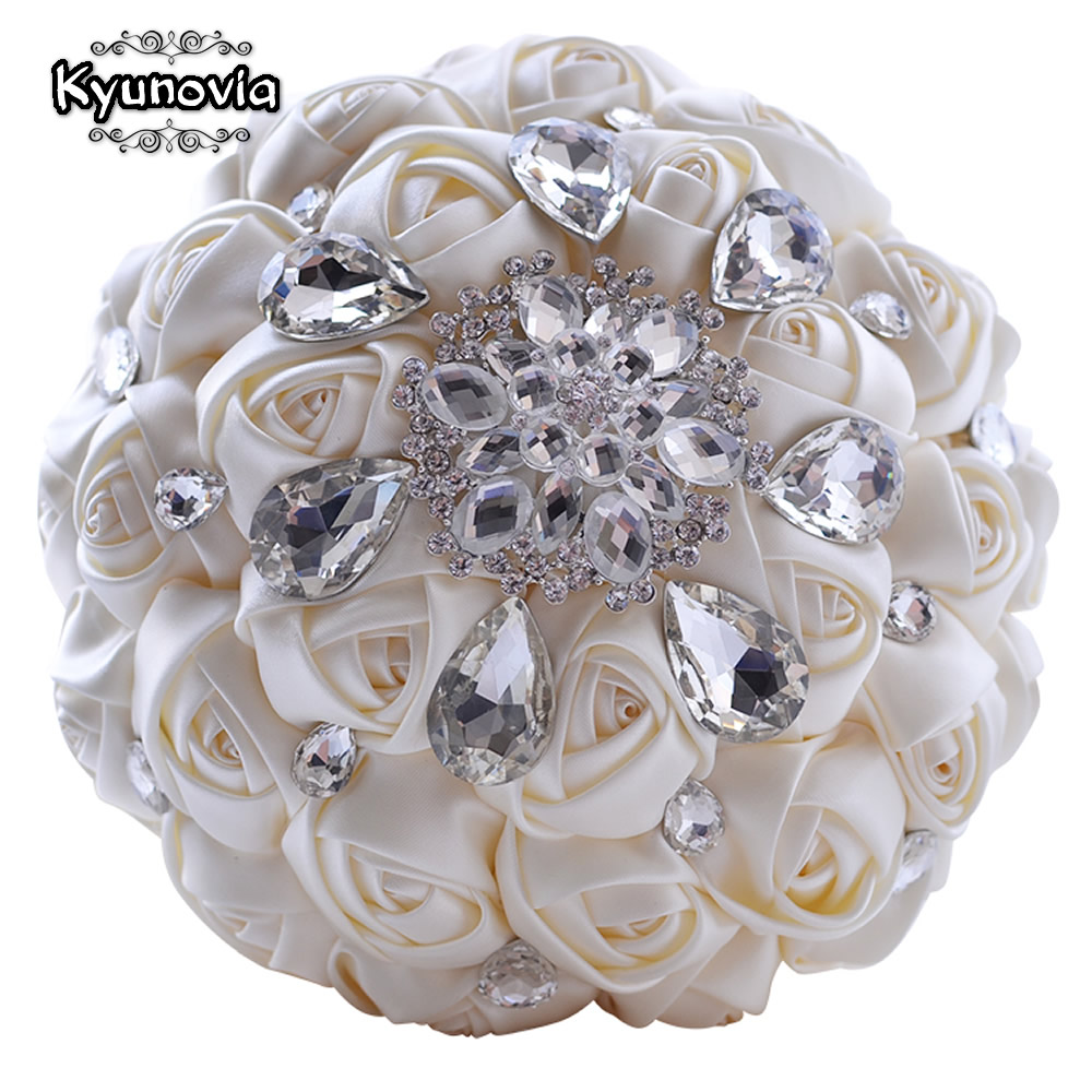 Kyunovia Rhinestones Wedding Bouquet Satén Wedding Flowers Crystal Bouquet Ivory Bouquet nupcial Custom Wedding Bouquet FE38