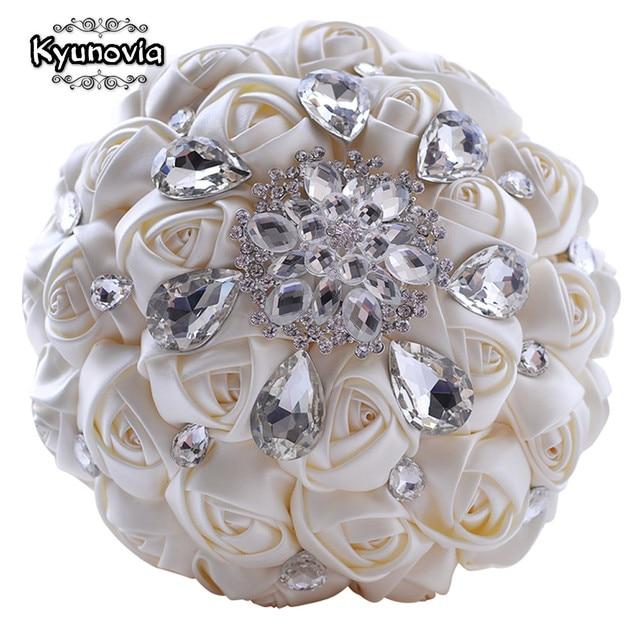 Kyunovia Rhinestones Wedding Bouquet Satin Flowers Crystal Ivory Bridal Custom Fe38