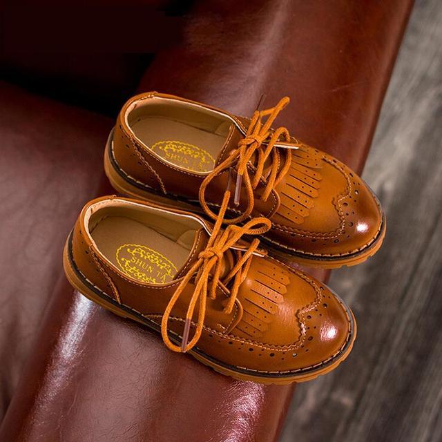 kids shoes boys girls shoes retro British style pu leather shoes kids fashion tassel casual shoes girls boys