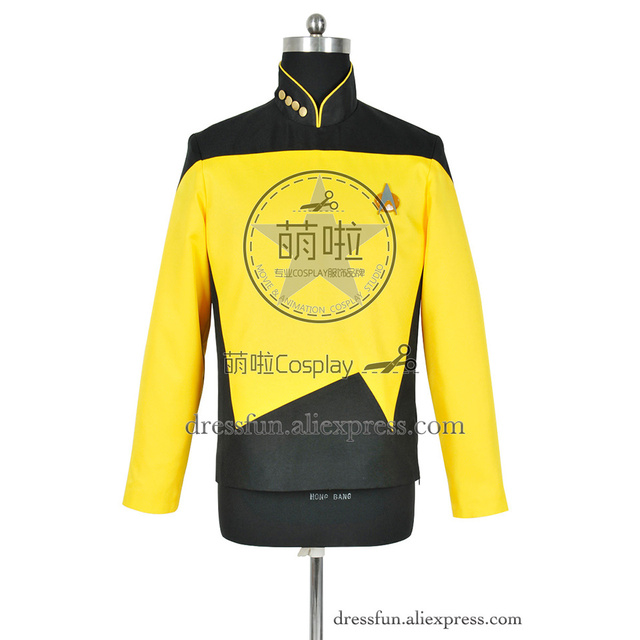 US $49 99 |Star Trek Cosplay The Next Generation TNG Operations Uniform  Costume Yellow Jacket Uniform Coat Halloween Party Fast Shipping -in Movie  &