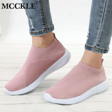 MCCKLE Women Plus Size Spring Sneakers Knitting Sock Female Vulcanized Shoes Casual Slip On Flat Shoe Mesh Soft Walking Footwear(China)