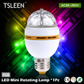 TSLEEN RGB 3W E27 CRYSTAL AUTO ROTATING LED BULB FULL COLOR STAGE DJ LAMP LIGHT MINI + Bulb Lamp Adapter