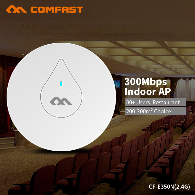 COMFAST 300Mbs Wifi Router Ceiling AP Built In Power Amplifier 2.4G Wifi Extender Include 48V POE Support OpenWRT CF-E350N 2PCS comfast full gigabit core gateway ac gateway controller mt7621 wifi project manager with 4 1000mbps wan lan port 880mhz cf ac200