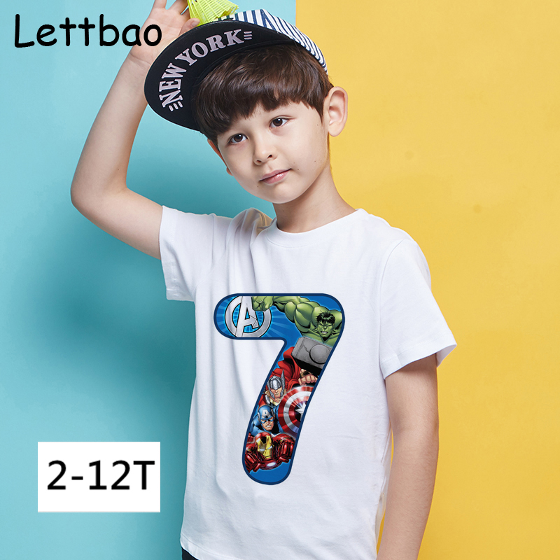 New Marvel Super Hero Happy Birthday 2 To 12 Number Children's T-shirt Avengers Endgame The Hulk Iron Man Print T-shirt for Boy