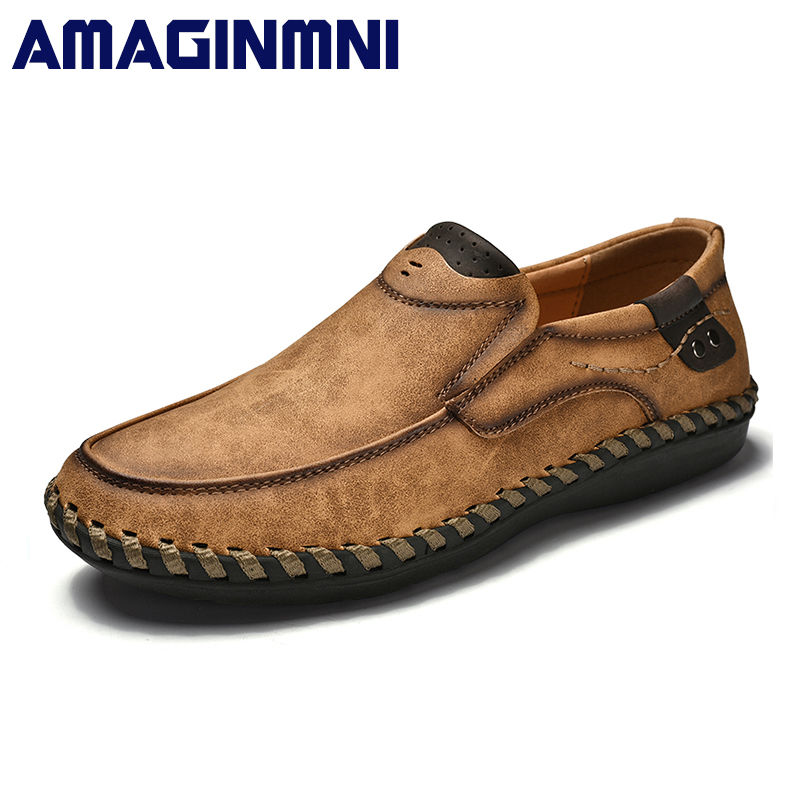 AMAGINMNI Brand New arrival Low price Mens Breathable High Quality Casual Shoes Leather Casual Shoes Slip On men Fashion Flats