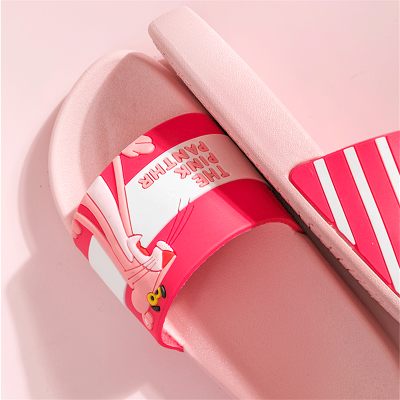 Cartoon Pink Panther kapcie Summer Slippers Women Non-slip laides beach slides chinelo pantuflas Pantofle domowe flip flops new
