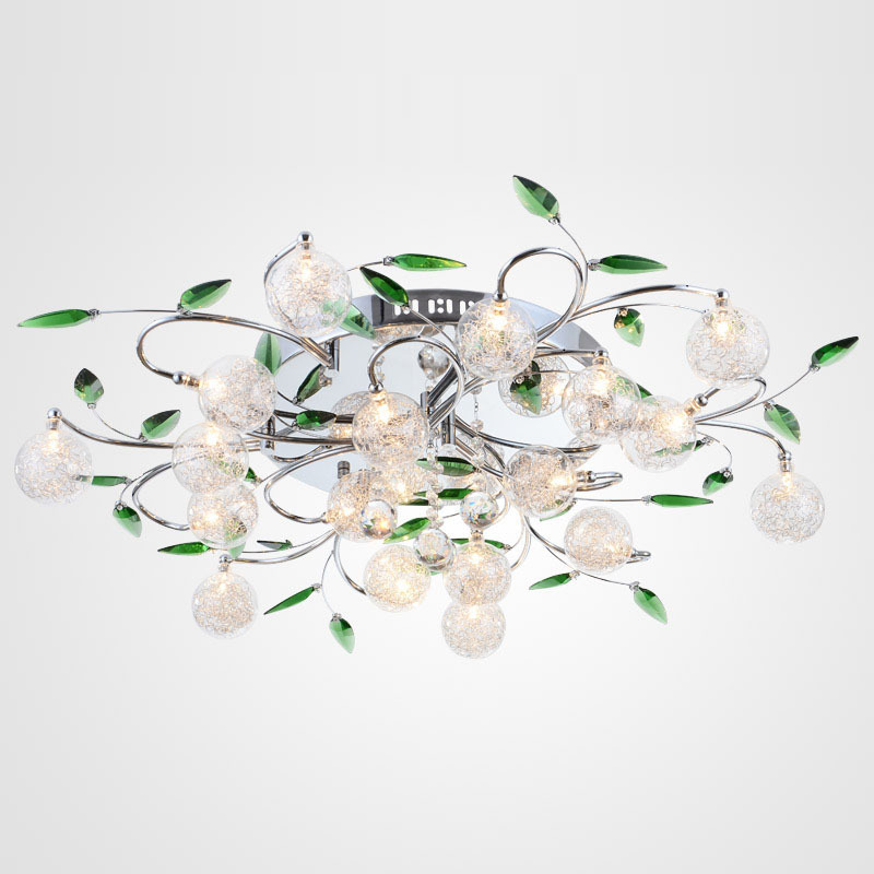 Modern Glass Ball Aluminum Wire Parlor Ceiling Lamp Stainless Steel Top Green Crystal Leaf Living Room Bedroom Ceiling Lamps