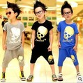 Promotion 2016 children clothing set summer short sleeve skull boys suit for 3-7 years old A115