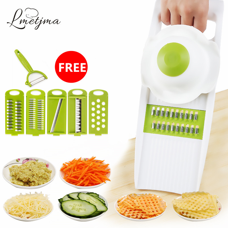 LMETJMA Stainless Stee Qiecai 5 Sets Shredder Slicers Into Strips Device Grater Cut Potatoes Carrot Cucumber Wire K0032