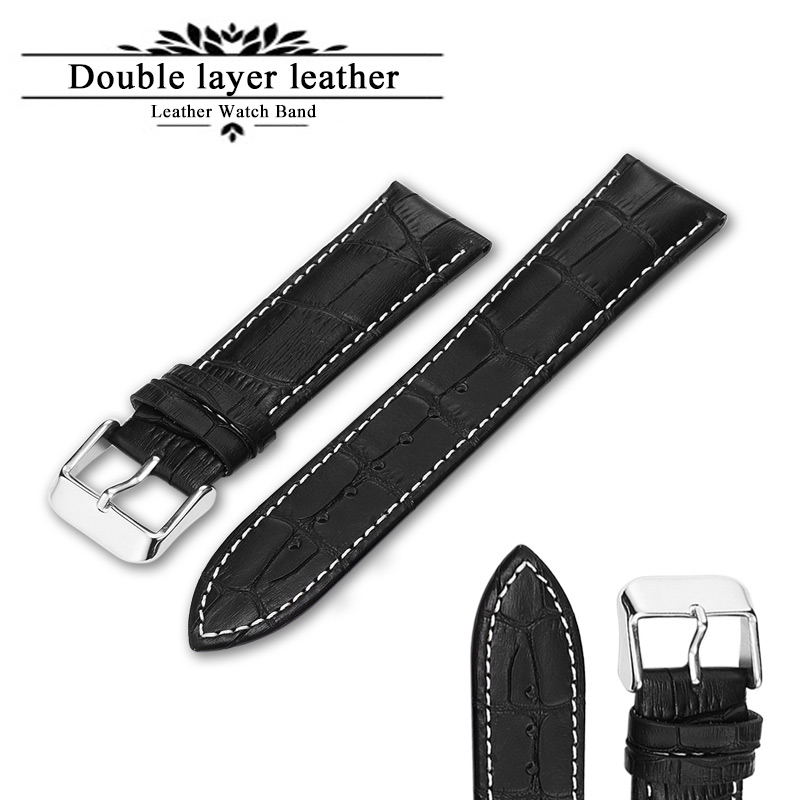 Leather <font><b>Watch</b></font> Strap <font><b>20mm</b></font> 22mm 24mm <font><b>Watch</b></font> <font><b>Band</b></font> Brown Black Woman Man Watchbands genuine leather Watchband Belts Clock Accesories image