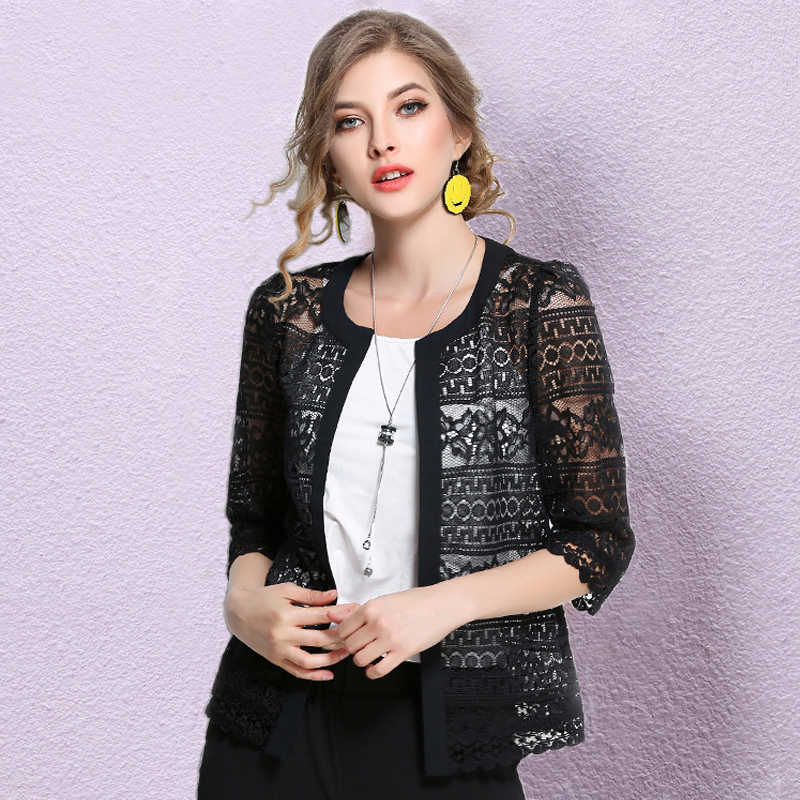 New 2019 Plus Size Cardigan Black White Crochet sexy Lace blouse shirt  women tops M- f9f20ab8a3fb