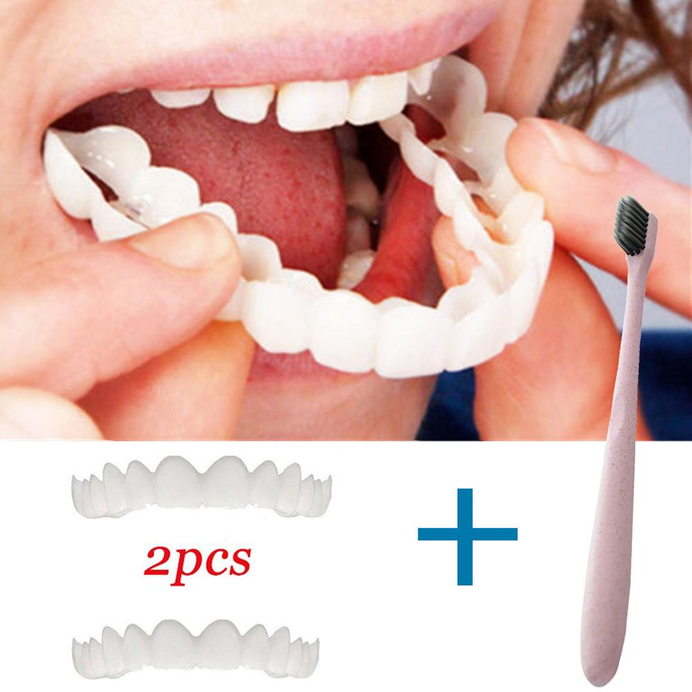 2Pcs/Set Comfort Fit White Fake Teeth Cover Denture  Dental Kit With Toothbrush Denture Care