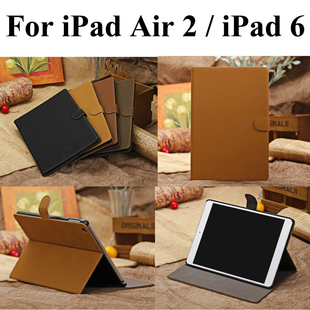 Genuine Leather Case For iPad Air 2 / iPad 6 Stand Smart Cover