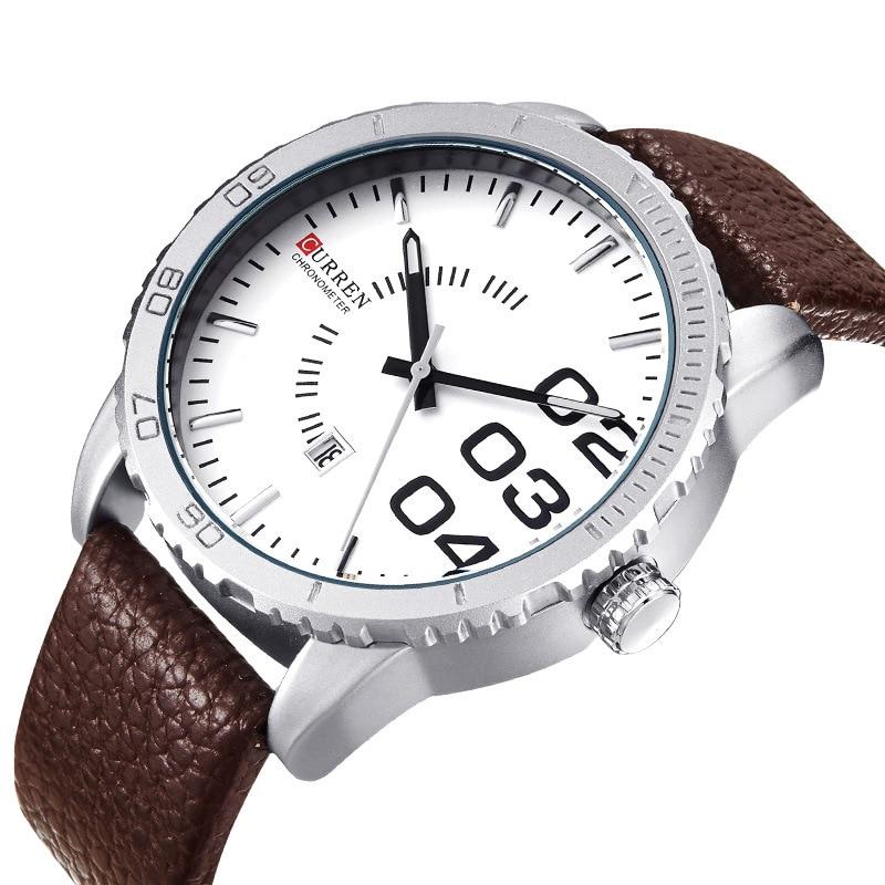 2017 Curren Saat Big Dial Face Men Watch Leather Strap Mens Watches Top Brand Luxury Calendar Wristwatch Man Clock Quartz Japan curren men watch with calendar round dial leather watchband